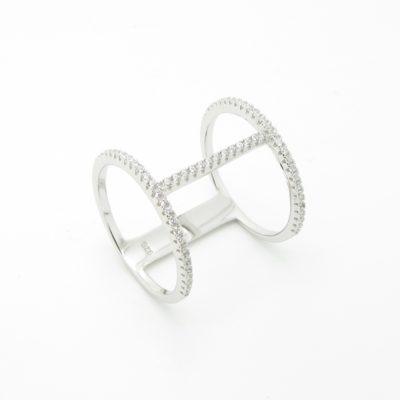 Bague argent anneau double zirconium