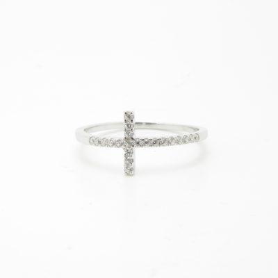 Bague argent croix zirconium