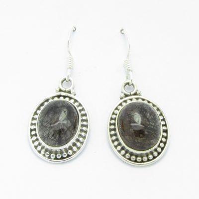 Boucles d'oreilles argent quartz rutile