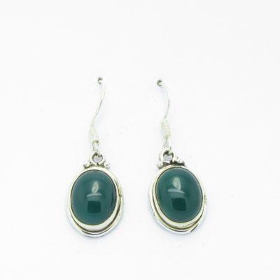 Boucles d'oreilles argent agate verte