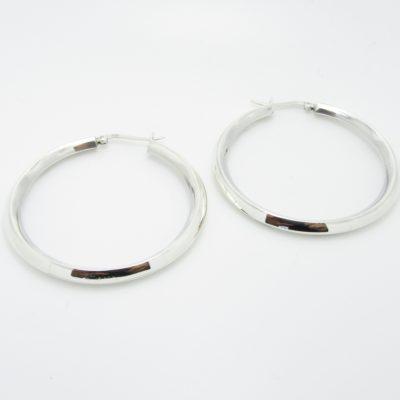 Boucles d'oreilles argent créoles miroir