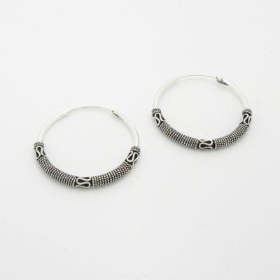 Boucles d'oreilles argent créoles bali