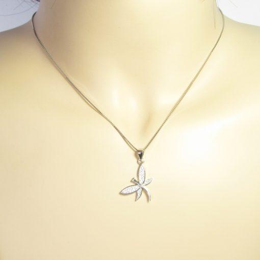 Collier argent libellule zirconium