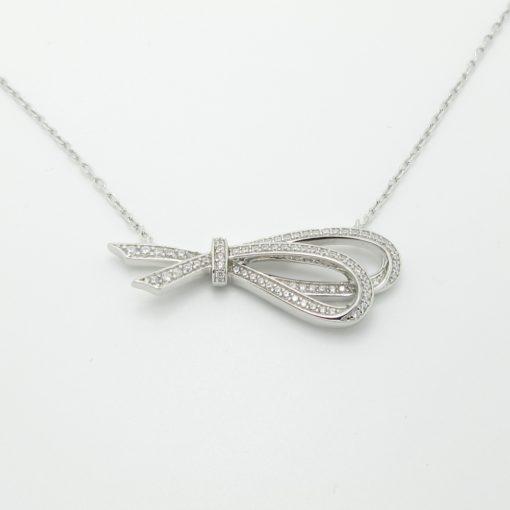 collier argent noeud zirconium
