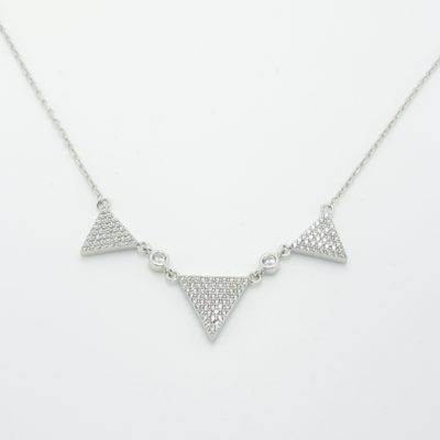 Collier argent triangle zirconium