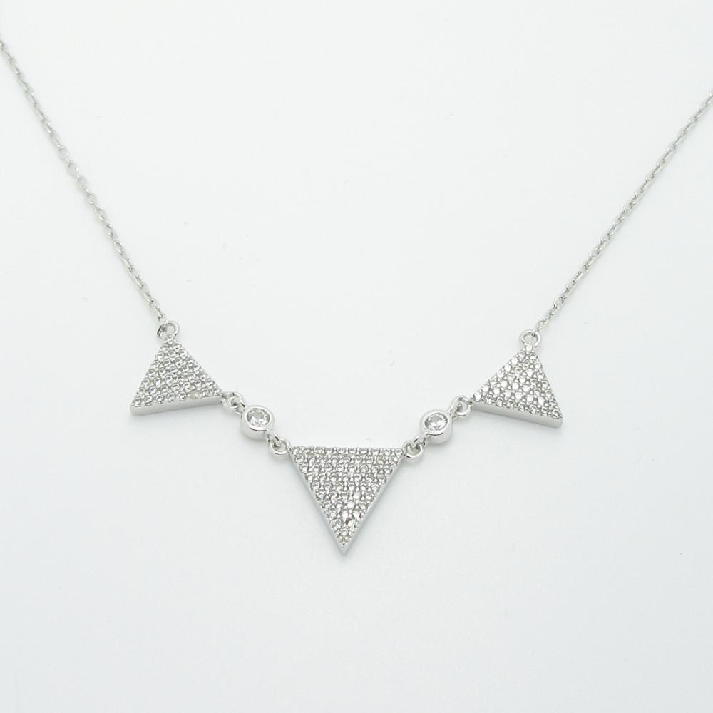 Zirconium Argent Triangle Argent Zirconium Triangle Collier Argent Collier Triangle Collier Zirconium wN80Oynmv