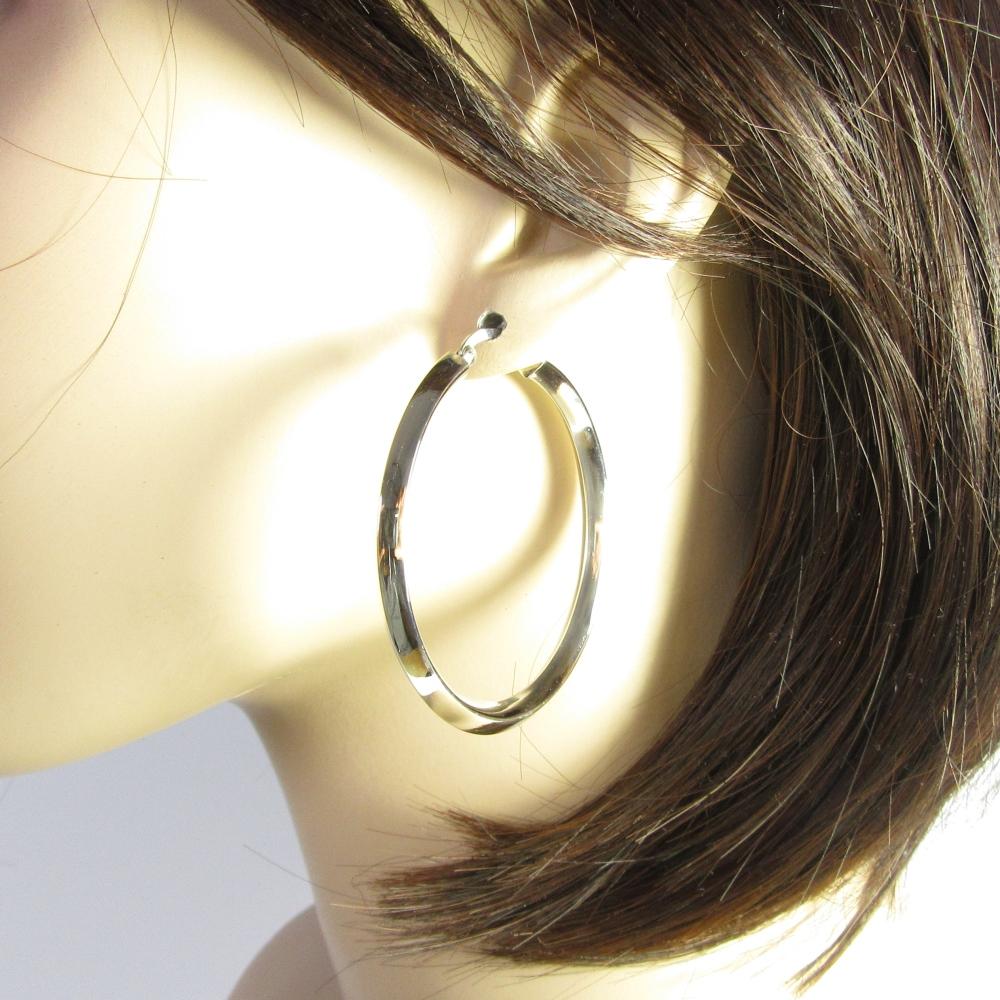 Boucles d 39 oreilles argent cr oles miroir for Miroir d argent