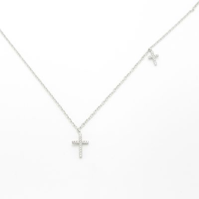 Collier argent croix zirconium