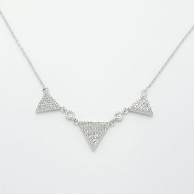 Collier argent triangle zirconium